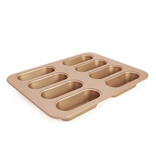 Nonstick Bakeware 8-cup, Aluminized steel Mini muffin pan Professional Loaf pans Cupcake pan Cake mold-Golden 32.5x25.8x4cm