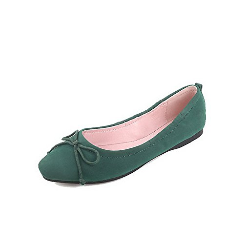 Odomolor Women's Low-Heels Microfibre Solid Pull-On Square-Toe Pumps-Shoes, Green, 35
