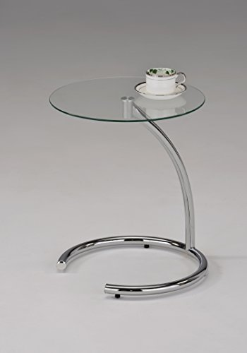 Round Glass Chrome Finish Chair Side End Snack Accent Table