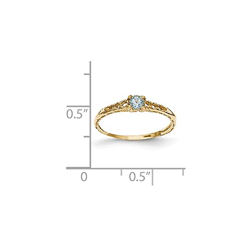ICE CARATS 14k Yellow Gold 3mm Blue Aquamarine Birthstone Baby Band Ring Size 3.00 March Fine Jewelry Gift For Women Heart by ICE CARATS (Image #5)