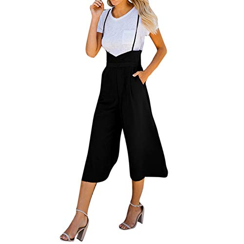 Thenxin Spaghetti Strap Jumpsuits Suspender Wide Leg Backless Overall Romper Pants with Pockets(Black,S