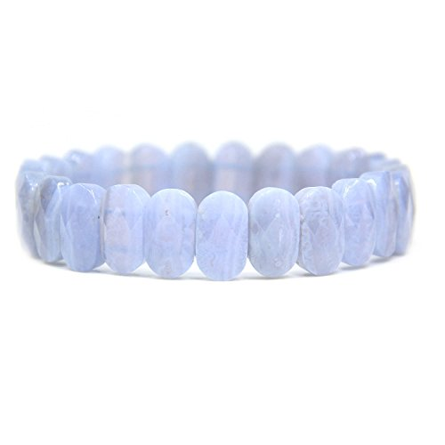 Natural Blue Lace Agate Gemstone 14mm Faceted Oval Beads Stretch Bracelet 7
