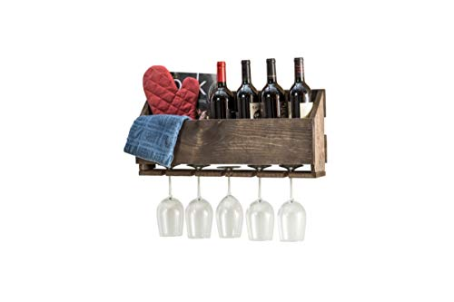 Del Hutson Designs Wall Mounted Wine and Stemware Rack (Dark Walnut)