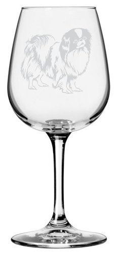 Japanese Chin Dog Themed Etched All Purpose 12.75oz Libbey Wine Glass