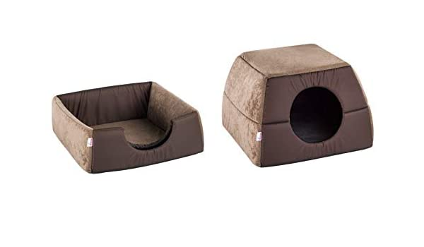 DIVERSA Trick 40 * 40 * 28 Brown caseta con Cama Sofá Acolchado Perro Gato: Amazon.es: Hogar