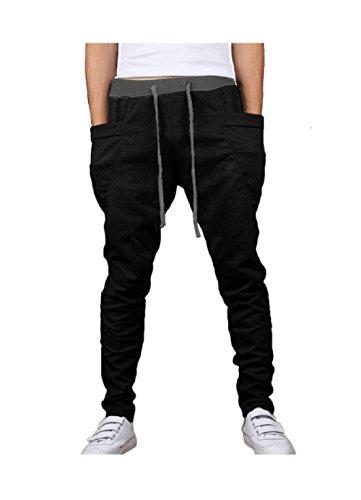 MO GOOD Men's Casual Jogging Harem Pants joggers New Arrival (XXL(US=L), black)