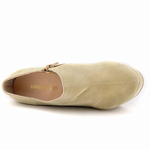 Plateforme Bottines Automne Abricot Bottes Talons Nouveaux Talon Hiver bas Mode Haut Bottes Femmes WanYang Chaussures Hiver a4RS7q