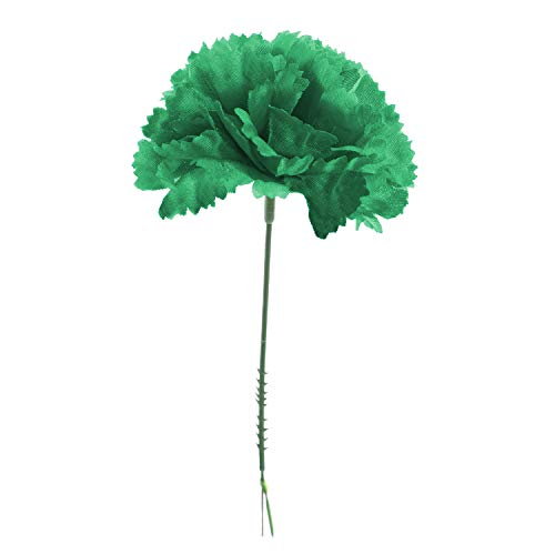 Royal Imports 100 Green Silk Carnations, Artificial Fake Flower for Bouquets, Weddings, Cemetery, Crafts & Wreaths, 5