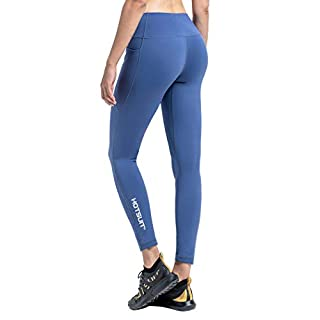 HOTSUIT High-Waisted-Leggings with Pockets Women Yoga-Pants - (Dark Slate, M) Butt Lifting Workout Legging Tummy Control Gym Tights Pant