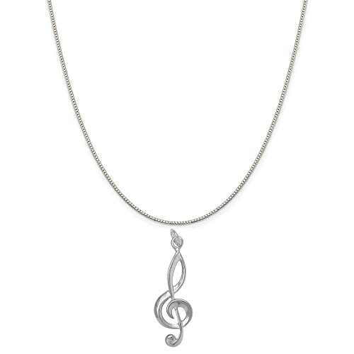 Tempo Metal Finish - Raposa Elegance Sterling Silver G Clef Musical Note Charm on a 18