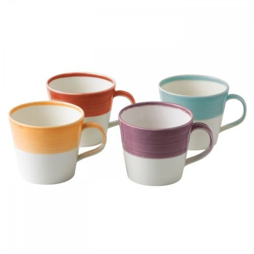 Royal Doulton 1815 Bright Colors Mixed Patterns Mugs (Set of 4), Multicolor (Silhouette Royal Doulton)