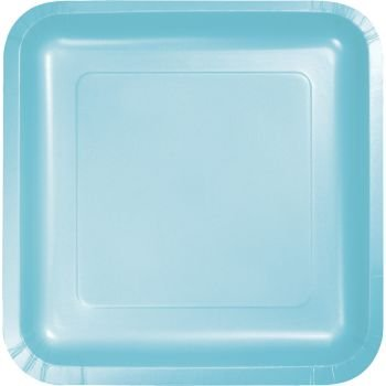 Pastel Light Blue Square Paper Plates, 9-inch Deep Dish 18 Per Pack
