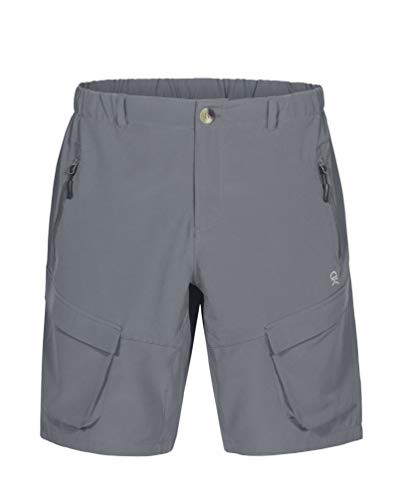 (Little Donkey Andy Men's Stretch Quick Dry Cargo Shorts for Hiking, Camping, Travel Grey Size S )