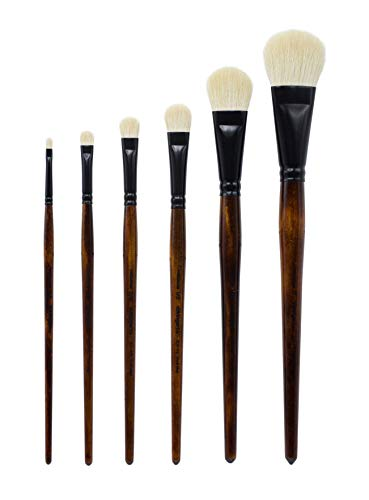 KINGART 1050A Specialty-Natural White Goat Hair MOPS-Set of 6 Paint Brush Set, Brown Black
