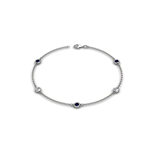 Petite Blue Sapphire and Diamond (SI2-I1, G-H) 5 Station Bracelet 0.52 cttw in 14K White Gold