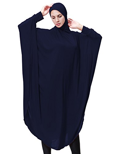 GladThink Womens Muslim Bat's-wing-sleeves Dress Hijab Two in One NAVY M