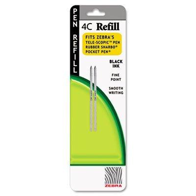 Zebra Refill for 4C Pocket Pen, Fine, Black Ink, 2/pack (4c Pocket Pen)