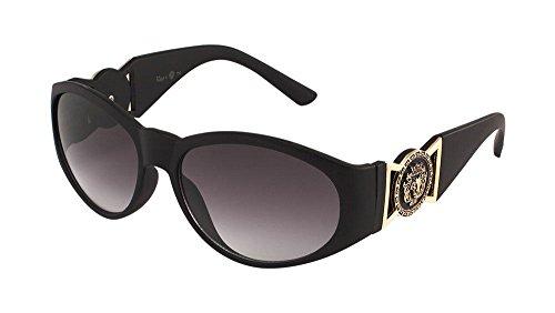 Kleo Oval Gold Lion Head Medallion Sunglasses (Matte Black, - Sunglasses Lion