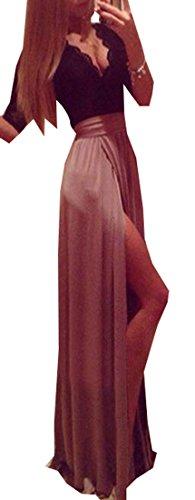 Jaycargogo Profond Col V Sexy Fendue Femmes Longue Robe De Soirée 1