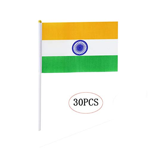 India Stick Flag,Indian Hand Held Mini Small Flags On Stick International Country World Stick Flags for Party Classroom Garden Olympics Festival Sports Clubs Parades Parties Desk Decorations(30 Pack) -