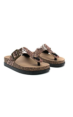 Ikrush Womens Rissa Sequin Cork T-Bar Sandals Rose Gold JppKYnBiz