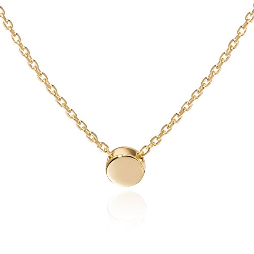 (S.Leaf Gold Tiny Dot Necklace Sterling Silver Ball Pendant Circle Necklace)