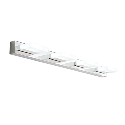 mirrea 16W Modern LED Vanity Light in 4 Lights, Stainless Steel and Acrylic, Cold White by mirrea