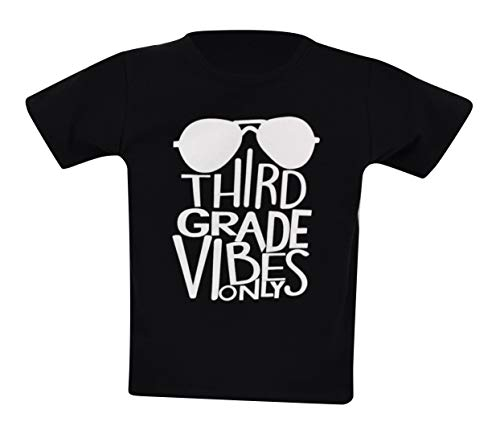 Unique Baby Boys 3rd Grade Vibes Only Back to School Shirt (7, Black) -