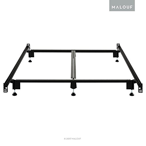 MALOUF Structures STEELOCK Headboard-Footboard Super Duty Steel Wedge Lock Metal Bed Frame with Adjustable Height Glides - Functions as Bed Rails - Lifetime U.S. Warranty