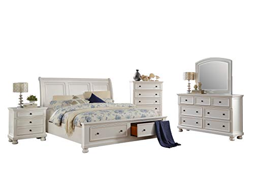 - Liverpool Cottage 5PC Bedroom Set Cal King Sleigh Storage Bed, Dresser, Mirror, Nightstand, Chest in White
