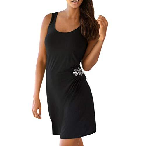 Sunhusing Women's Bohemian Sleeveless Embroidered Flowers Slim Fit Pleated Frilled Above Knee Dress Black