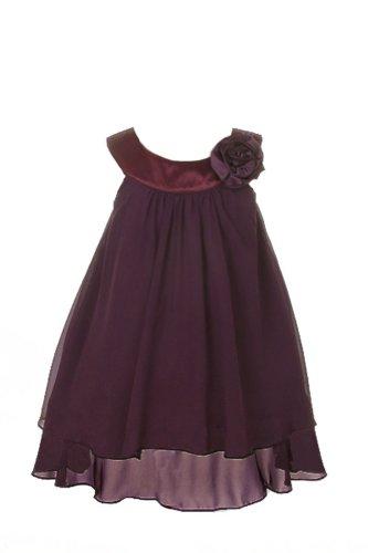 Satin Bib Neckline & Chiffon A-line Flower Girl Dress Wedding Casual Holiday Eggplant, 4 (Fits size 3-4)