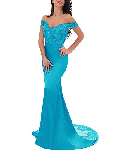 Off-Shoulder Split Evening Gown Lace Mermaid Prom Dress Applique Bridesmaid Dress Lake Blue US14