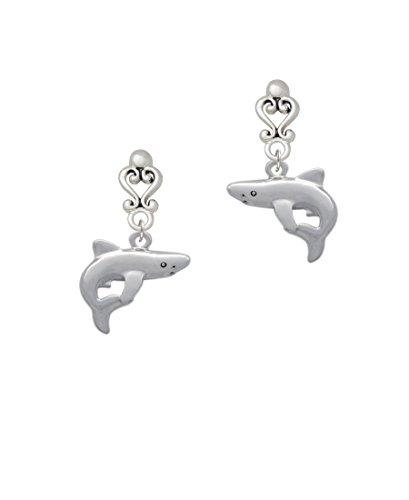 Shark - Filigree Heart Earrings