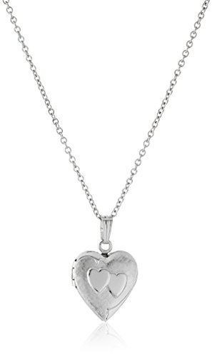Girls' Sterling Silver Children's Petite Heart Embossed Locket Necklace, 15