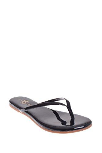 Black Patent Flip Flops (Yosi Samra Women's Roee Flip Flop Black Patent Sandal 9 M)