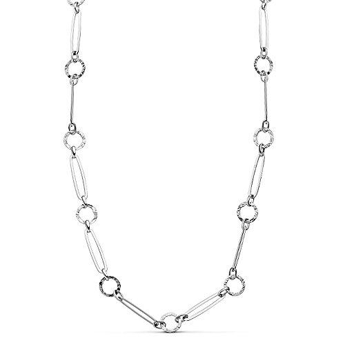 Collier Or blanc 18 carats rayé 45cm. liens allongés [AB2333]
