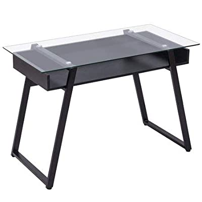Tangkula Computer Desk Home Office Glass Top Wooden with Storage Shelf Laptop PC Desk Work Sturdy Writing Table Workstation 43.5''L x 21.5''W x 29''H (Black Frame Clear Glass Top) - 【Simple Design & Modern Style】The design of the Tangkula computer desk is modern and simple. The computer desk combines wood and glass to create a stylish and minimalist style. It is ideal for decorating a bedroom, living room, study or dormitory. 【Multi-function Workstation】This Tangkula computer desk has a variety of ways to use it. This multi-functional table can be used as a computer desk, desk, dressing table, side table, coffee table , etc. You can put it in your bedroom, living room, study, office and other places. 【Durable & Large Weight Capacity】The contemporary style writing table featuring thick wood frame and tempered glass, is very durable and sturdy. Spacious glass table top will hold item up to 110 lbs. It is enough to meet your daily needs. - writing-desks, living-room-furniture, living-room - 317cLe98h5L. SS400  -