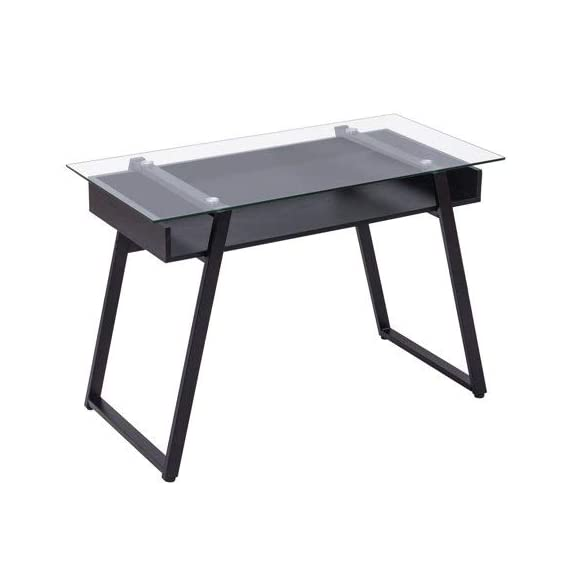 Tangkula Computer Desk Home Office Glass Top Wooden with Storage Shelf Laptop PC Desk Work Sturdy Writing Table Workstation 43.5''L x 21.5''W x 29''H (Black Frame Clear Glass Top) - 【Simple Design & Modern Style】The design of the Tangkula computer desk is modern and simple. The computer desk combines wood and glass to create a stylish and minimalist style. It is ideal for decorating a bedroom, living room, study or dormitory. 【Multi-function Workstation】This Tangkula computer desk has a variety of ways to use it. This multi-functional table can be used as a computer desk, desk, dressing table, side table, coffee table , etc. You can put it in your bedroom, living room, study, office and other places. 【Durable & Large Weight Capacity】The contemporary style writing table featuring thick wood frame and tempered glass, is very durable and sturdy. Spacious glass table top will hold item up to 110 lbs. It is enough to meet your daily needs. - writing-desks, living-room-furniture, living-room - 317cLe98h5L. SS570  -