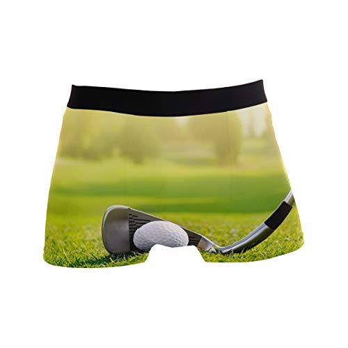 (Titlesign Men's Sexy Boxer Briefs White Golf Ball On The Course Print Stretch Bulge Pouch Underpants Underwear)