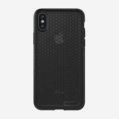Nomad iPhone X Hexagon Case - TPU Rubber, 10ft. Mil-Spec Drop Protection, Dual Material Construction - Black & Smoked Gray