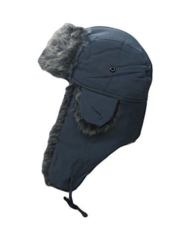 Faux Fur Trooper Trapper Aviator Ski Hat (Grey)