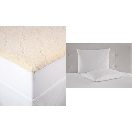 Perfect Fit Cotton Fleece Mattress Pad, King, White and Perry Ellis Quilted White Duck Feather Pillow (Set of 2), Queen, White
