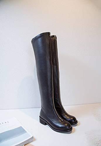 delantera delgadas de e Europa con rodilla de Unidos cremallera TSNMNB otoño de de altas con botas y espesor con Estados piernas estiramiento botas femenina botas botas la sobre los invierno cabez pie Swd6xv