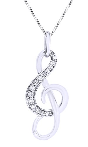 Jewel Zone US Mothers Day Jewelry Gifts White Natural Diamond Music Note Pendant Necklace in 10K White Gold (0.1 Cttw)