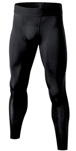 (Self Pro Men's Compression Pants Baselayer Cool Dry Sports Tights Leggings Black)