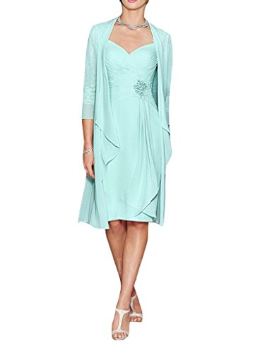 H.S.D Ladies Column Short Lace&Chiffon Mother of The Bride Dress with Bolero Mint Green