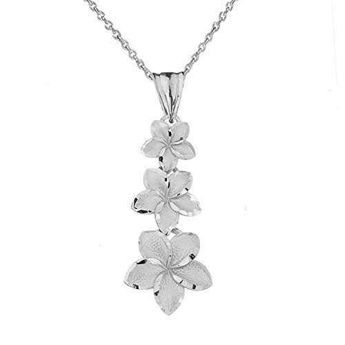 (Elegant Sterling Silver Hawaiian Plumeria Flowers Charm Pendant Necklace, 22
