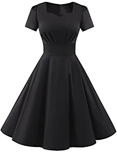 DRESSTELLS Vintage 1950s Solid Color Prom Dresses Short Sleeved Retro Audery Swing Dress