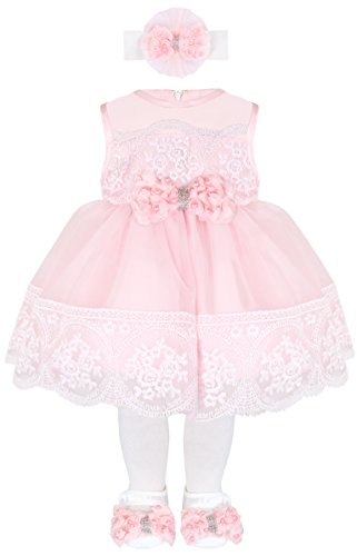 Baby Girl Newborn Pink Embroidered Princess Dress Gown 6 Piece Deluxe Set 0-3 Months (Girls Designer Party Dresses)